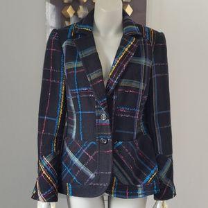 Christian Lacroix Bazar Tweed Plaid Blazer Sz44